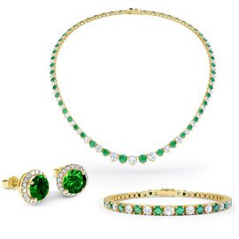 Eternity Emerald CZ 18ct Gold plated Silver Jewellery Set