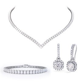 Princess Diamond CZ Rhodium plated Silver Jewellery Set
