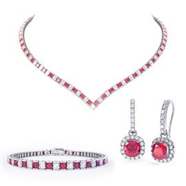 Princess Ruby CZ Rhodium plated Silver Jewellery Set