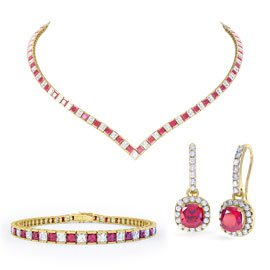 Princess Ruby CZ 18ct Gold plated Silver Jewellery Set