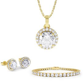 Eternity White Sapphire 18ct Gold Vermeil Jewellery Set with Pendant