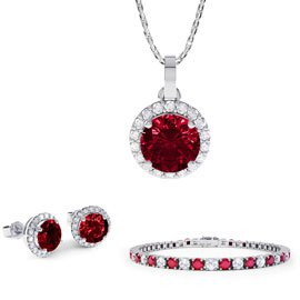 Eternity Ruby Platinum plated Silver Jewellery Set with Pendant