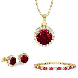 Eternity Ruby 18ct Gold Vermeil  Jewellery Set with Pendant