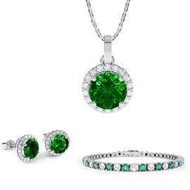 Eternity Emerald Platinum plated Silver Jewellery Set with Pendant